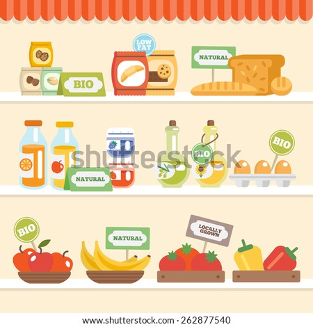 Bio eco natural food collection on supermarket shelves vector illustration - stock vector