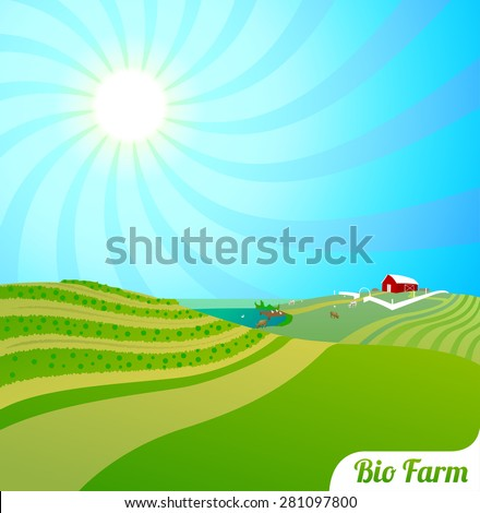 Bio farm - stock vector