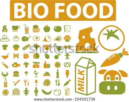 bio food icons set, vector - stock vector