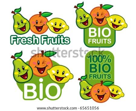 Bio Fruits Seal / Mark / Emblem - stock vector