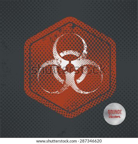 Bio hazard,stamp design on old dark background,grunge concept,vector - stock vector