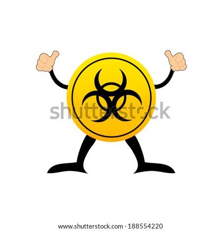 Bio-hazard symbol on a yellow button - stock vector