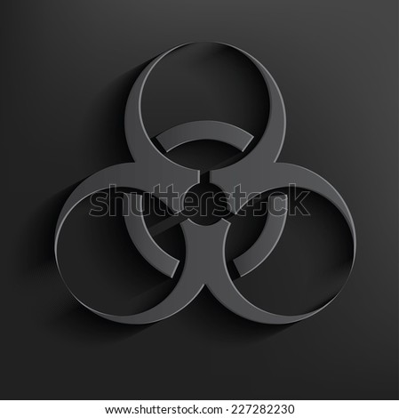 Bio-hazard symbol on black background,clean vector - stock vector