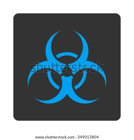 Bio Hazard vector icon. Style is flat rounded square button, blue and gray colors, white background.