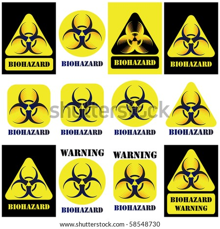 Biohazard Vector Sign Symbol Set Isolated Stock Vector 58548730