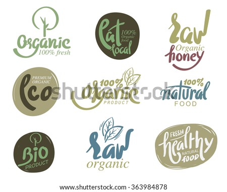 Bio organic gluten free eco bio healthy food restaurant menu logo label templates. - stock vector