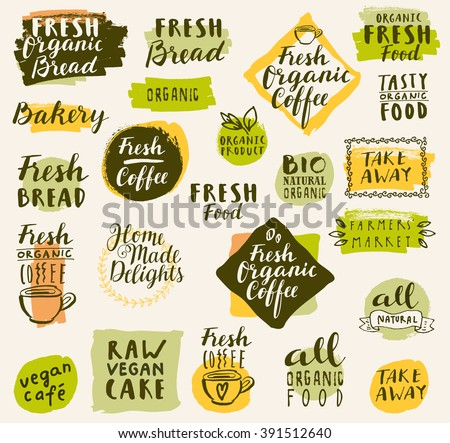 Bio organic labels set. Fresh Bread Bakery. Farmers' Market. Food and drinks for healthy life. Fresh organic food and coffee labels collection. Logo templates. Beautiful calligraphic badges in vector - stock vector