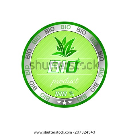 Bio product button with green leaves on the clean background/vector illustration