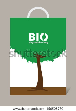 Biodegradable bag. Vector illustration - stock vector