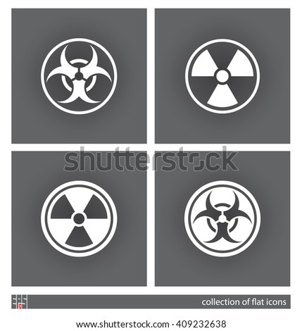 Biohazard and radiation hazard symbols. Set of flat icons. Vector illustration - stock vector