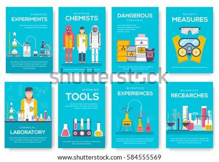 Biohazard chemists brochure cards set chemistry stock for Science brochure template
