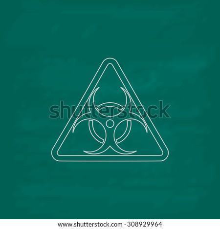 Biohazard. Outline vector icon. Imitation draw with white chalk on green chalkboard. Flat Pictogram and School board background. Illustration symbol - stock vector
