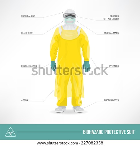 Biohazard protective suit and safety equipment - stock vector