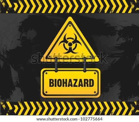 biohazard sign on grunge background, vector illustration - stock vector