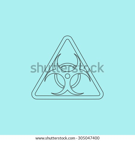 Biohazard. Simple outline flat vector icon isolated on blue background - stock vector