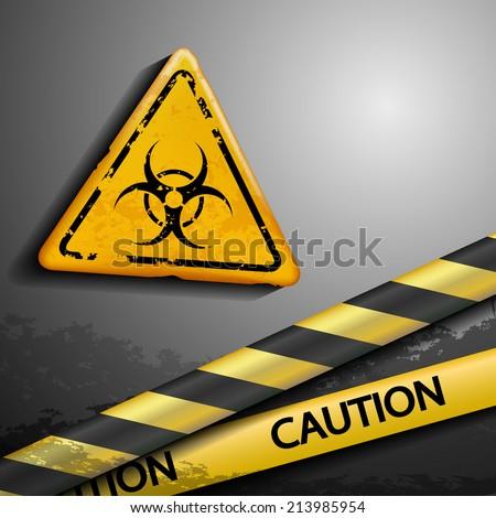 biohazard symbol and warning tape - stock vector