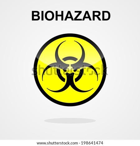 Biohazard symbol on a yellow button - stock vector
