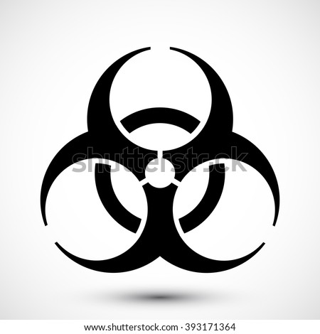 Biohazard Symbol on background. Isolated vector illustration of biohazard symbol. Educational symbol Icon.  Icon can be used as sticker, poster, wallpaper, design, or web design icons.