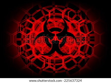 biohazard symbol on circle technology abstract background - stock vector