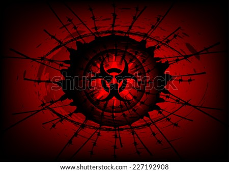 biohazard symbol on Surrounded by barbed wire background - stock vector