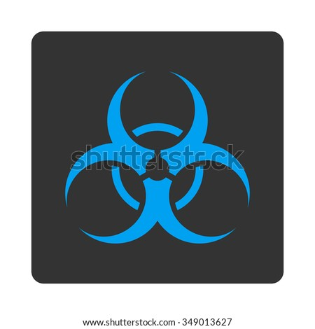 Biohazard Symbol vector icon. Style is flat rounded square button, blue and gray colors, white background.