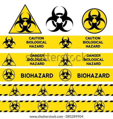 Biological hazard signs and seamless warning tapes set. Vector icon. - stock vector