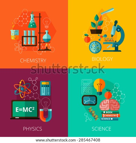Biological physics laboratory and chemistry scientific education concept 4 flat icons composition print abstract isolated vector illustration - stock vector