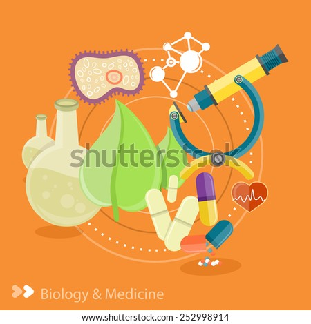 Biology and medicine. Science and technology concepts. Laboratory workspace and workplace concept. Chemistry, physics, biology. Concept in flat design cartoon style on stylish background - stock vector