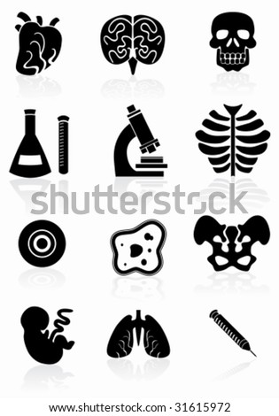 Biology Black Icon Set : Medical themed buttons. - stock vector