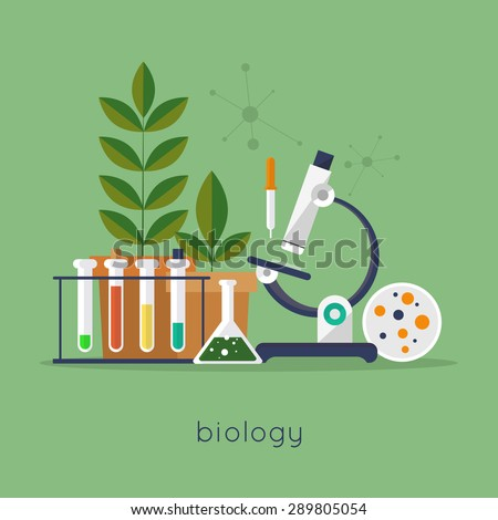 Biology laboratory workspace and science equipment concept. Flat design vector illustration. - stock vector