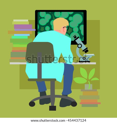 Biology. Scientist working in laboratory. Books, computer, microscope on the table. Cartoon vector illustration isolated. - stock vector