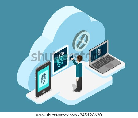 Biometric fingerprint identification internet cloud authentication flat 3d web isometric creative infographic concept vector. Security, secure data access. Touch screen tablet phone and laptop. - stock vector
