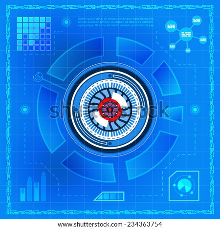 Biometric technology eye blue background with information terms, charts, indicators and chart. Space for text - stock vector