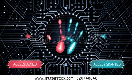 Biometric Verification - Infographic Template. Graphic design on the theme of biometric verifications technology. - stock vector