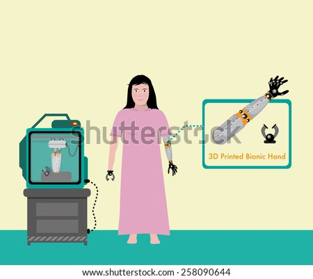Bionic Arms and Hand 3D Printing. Woman with Disability is Equipped with Artificial Limbs Fresh from 3D Machine. Editable Vector EPS10 Illustration.  - stock vector