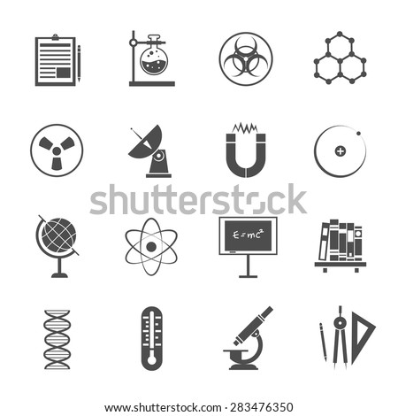 Biophysics experimental science lab research black icons set with dna molecule model pictogram abstract isolated vector illustration - stock vector