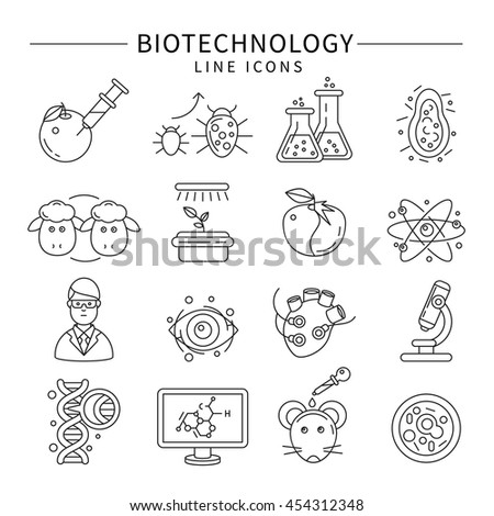 Biotechnology icon set in linear style isolated carrying out experiments on animals and plants vector illustration