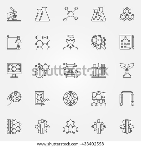 Biotechnology icons set - vector collection of bio technology and science concept signs in thin line style. Genetic engineering linear symbols - stock vector