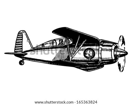 Biplane aircraft in flight. Vintage style vector illustration. - stock vector