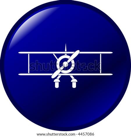 biplane button - stock vector