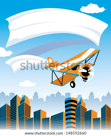 Biplane flying over city with banner advertisement  - stock vector