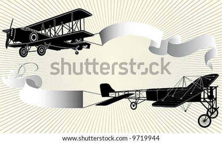 Biplane pulling a blank banner. Airplane with ribbon. Vector illustration. - stock vector