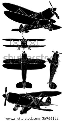 Biplane Vector 01 - stock vector