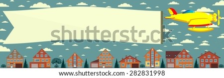 Biplane with banner. Vector illustration. - stock vector