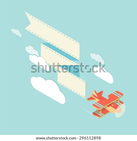 biplane with long banner for your text - stock vector