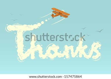 Biplane with word Thanks. Vector illustration. - stock vector