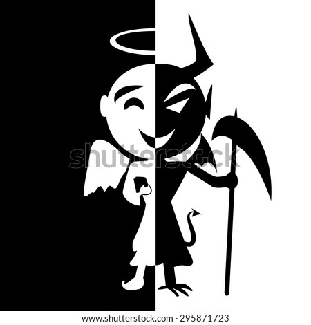 Bipolar disorder.Smile of saint and satan, Angel and Devil in same person, good or evil,fake man,. Abstract silhouette background