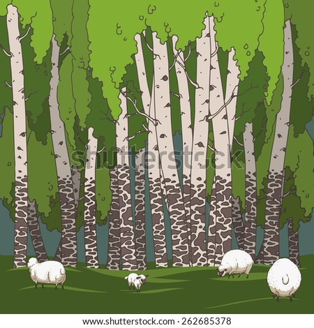 Birch grove and sheeps. Hand drawn illustration. Ukraine - stock vector
