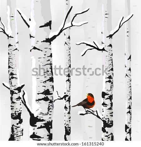 Birch in snow, winter card in vector - stock vector