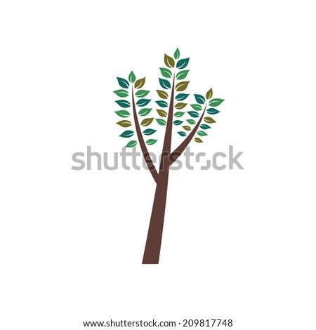 Birch tree image. Concept of new beginning and prosperous future.Vector icon  - stock vector